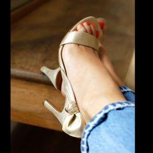 Sézane Emma Gold Leather Sandals